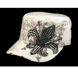 Black Jeweled Fleur-de-lis on White Cadet Castro Hat Military Army Cap