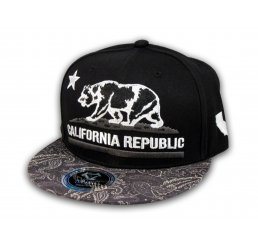 California Republic Bear Star Black Paisley Snapback Hat Flat Bill