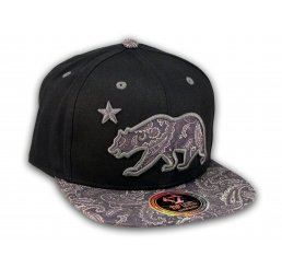 Paisley California Republic Bear Star Black Snapback Hat Flat Bill