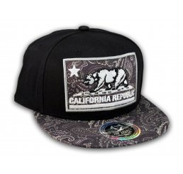 California Republic Bear Patch Black Paisley Snapback Hat Flat Bill