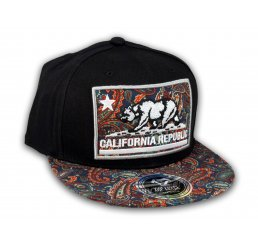 California Republic Bear Black Navy Paisley Baseball Hat Snapback Cap