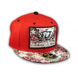 California Republic Bear Red Floral Baseball Cap Snapback Flat Bill