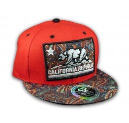California Republic Bear on Red and Navy Paisley Baseball Snapback Hat