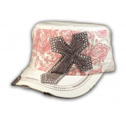 Gray Jeweled Cross on White Cadet Castro Hat Military Army Cap