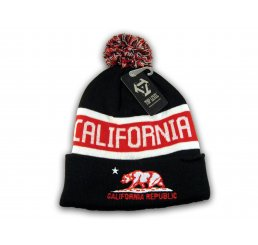 Black Red California Republic Cali Bear Cuffed Knit Beanie with Pom