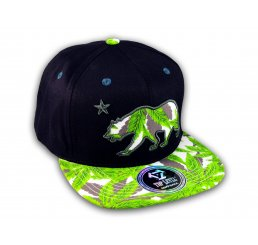 Marijuana California Republic Bear Black Baseball Hat Snapback