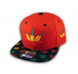 Red Rasta Marijuana Pot Leaf Weed Cannabis Flat Bill Snapback Cap