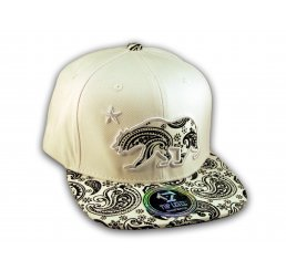 Black Paisley on White California Republic Bear Star Snapback Hat