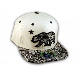 White Paisley on Black California Republic Bear Star Snapback Hat