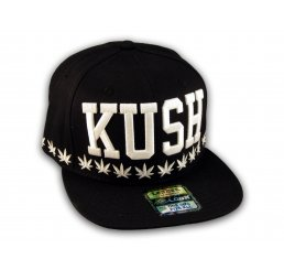 Kush Black Flat Bill Hat Snapback Cap