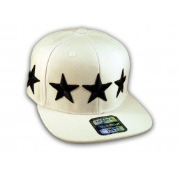 Black Stars Embroidered on White Snapback Flat Brim Hat