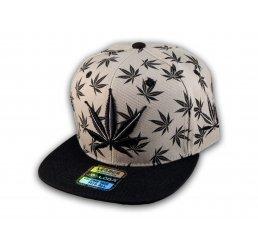 Gray with Black Marijuana Pot Leaf Weed Cannabis Flat Bill Snapback