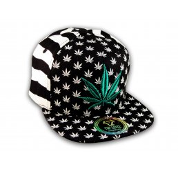 Black White Stripe Marijuana Pot Leaf Weed Cannabis Flat Bill Snapback