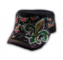 Black Cadet Hat with Fleur-de-lis and Butterflies Military Cap