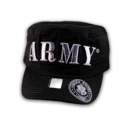 Raised 3D Silver Army on Black Cadet Hat Military Cap