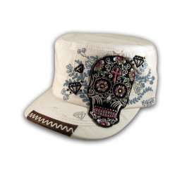 Sugar Skull on White Cadet Hat Military Cap