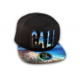 Cali Script Black California Republic on Beach Snapback Hat