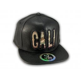 Cali Script Black Leather California Republic Snapback Hat