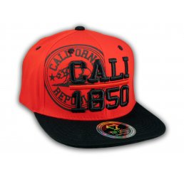 Cali California Republic 1850 Red Flat Bill Snapback Hat