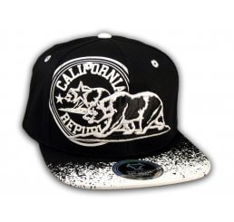 California Republic Bear Black-White Flat Bill Snapback Hat