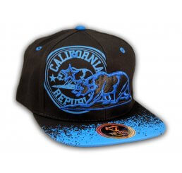 California Republic Bear Black-Blue Flat Bill Snapback Hat