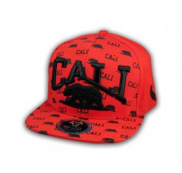 California Republic Bear Red and Black Flat Bill Hat