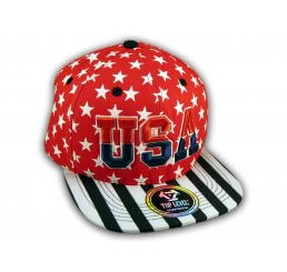Red USA Star Spangled Snapback Hat