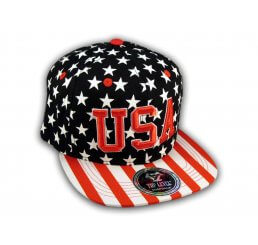 Black USA Star Spangled Snapback Hat