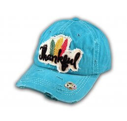 Turquoise Thankful Washed and Distressed Baseball Cap