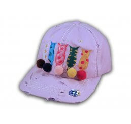 Purple Cat Mom Washed and Distressed Baseball Cap