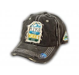 Black Hike More Worry Less Washed and Distressed Baseball Cap