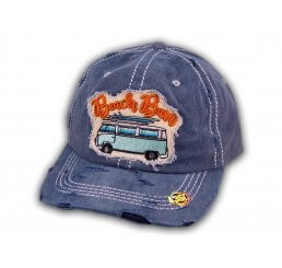 Navy Blue Beach Bum Washed and Distressed Baseball Cap