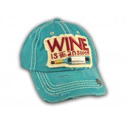 Turquoise Wine Is The Answer Washed and Distressed Baseball Cap