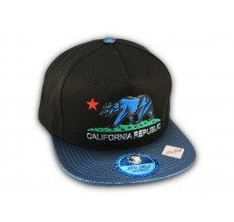 Black and Blue California Republic Snapback Hat