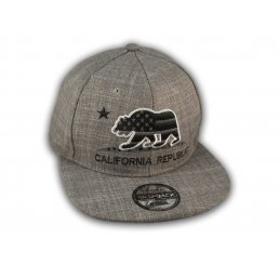 Gray California Republic Bear Flat Bill Snapback Hat