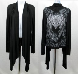 Black Shawl Fleur-de-lis Wings Jewels Waist Length Long Sleeve