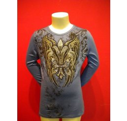 Blue Crew Neck Shirt with Print and Rhinestones