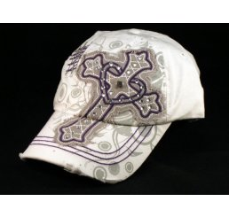 Cross with Heart on White Ball Cap Vintage Visor Jewels Stitching