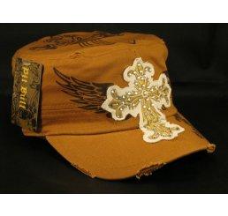 Cross on Cinnamon Brown Army Cadet Hat Vintage Castro Cap