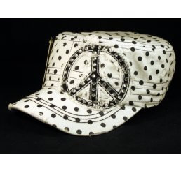 Peace Sign on White Polka Dot Cadet Cap Distressed Visor