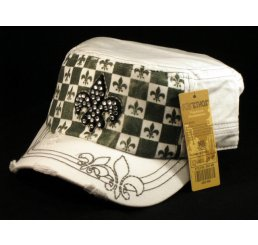Fleur-de-lis on Checker Board White Army Cadet Hat Military Cap