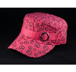 Pink Cadet Cap with Black Peace Signs and Buckle