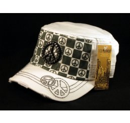 Peace Sign on Checkerboard on White Army Cadet Hat Military Cap