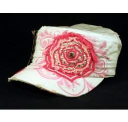 Pink Rose on White Cadet Cap Military Hat Distressed Visor