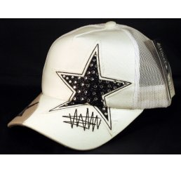 Black Star on White Trucker Cap Snapback Hat with Mesh Back