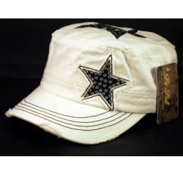 Star on White Army Cadet Hat Vintage Castro Cap