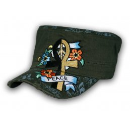 Ankh and Flowers on Olive Green Army Cadet Hat Military Cap