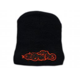 Knitted Black Beanie with Orange Chopper