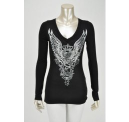 Black V-Neck Top Angel Wing with Print and Rhinestones