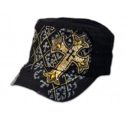 Black Cadet Cross Castro Cap Military Army Hat Vintage Visor Jewel